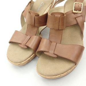 Clarks Shoes - Clarks Cork-Heel, Strappy Brown Leather Sandals